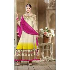 White and Yellow SHABANA BY SAINX DESIGNER WEAR ANARKALI
