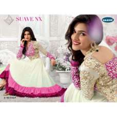 "White and Pink KRITI SANON ""SUAVE COLORS"" WEDDING WEAR ANARKALI"