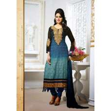 Snorkel Blue and Black Tamanna 2 Georgette Long Length Salwar Kameez