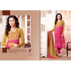 Mustard and Pink ZEENAT 2 CASUAL WEAR CHIFFON SALWAR SUIT