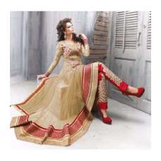 READYMADE GOLD AND RED ZOYA STYLE ANARKALI SUIT (LARGE)