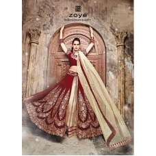 DARK RED VELVET ZOYA SAPPHIRE WEDDING WEAR LENGHA DRESS