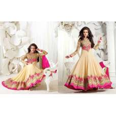 Cream and Pink Safeena Nett and Georgette Party Wear Anarkali