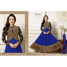 Blue and Gold KARISHMA KAPOOR ELIZA 5 HEAVY EMBROIDERED DRESS