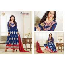 Blue and Red KARISHMA KAPOOR ELIZA 5 HEAVY EMBROIDERED DRESS