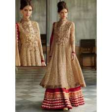 Golden DETAILED EMBROIDERED WEDDING WEAR DESIGNER ANARKALI