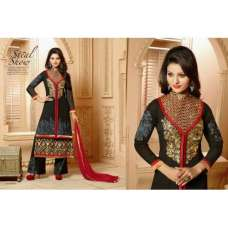Black and Red CLASSIC KEYAS 4 GEORGETTE LONG LENGTH STRAIGHT SUITS
