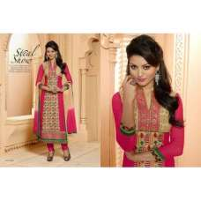 Golden and Pink KEYAS 4 GEORGETTE LONG LENGTH STRAIGHT SUITS