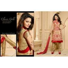 Golden Red KEYAS 4 GEORGETTE LONG LENGTH STRAIGHT SUITS