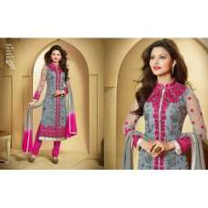 Grey and Pink ZOOL KEYAS 5 GEORGETTE LONG LENGTH STRAIGHT SUITS