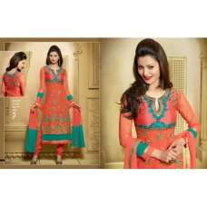 Peach ZOOL KEYAS 5 GEORGETTE LONG LENGTH STRAIGHT SUITS