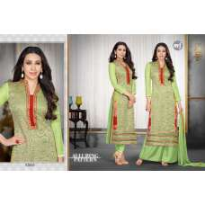 52005 Green and White KARISHMA KAPOOR HEAVY EMBROIDERED DRESS