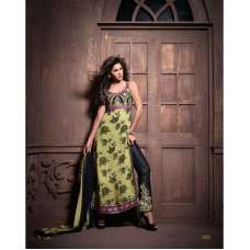 Green and Black Maskeen Anaya senora Embroidered Designer Dress