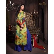 MA2005 Yellow and Blue SENORA BY MASKEEN WEDDING WEAR SALWAR SUIT