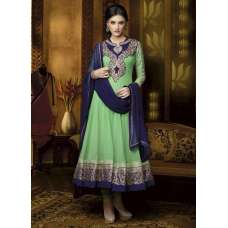 Mehak Green Georgette Long Length Designer Dress