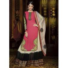 Mehak Pink and Black Georgette Long Length Designer Dress