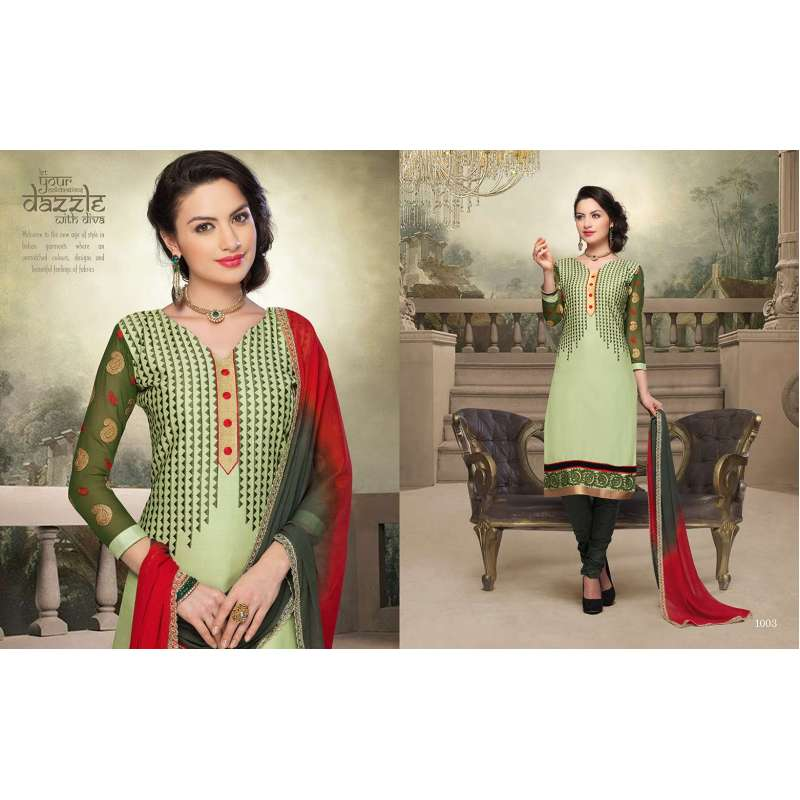 07cd12e240 Green and Red NITA PARTY WEAR LONG STRAIGHT SALWAR KAMEEZ