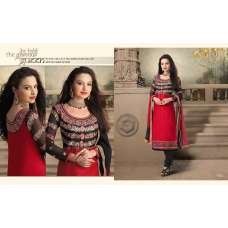 Red and Black NITA PARTY WEAR LONG STRAIGHT SALWAR KAMEEZ