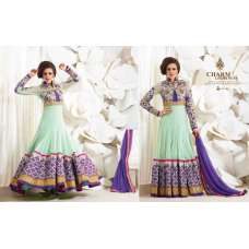 Purple and Green Safeena Nett and Georgette Party Wear Anarkali