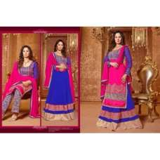 Blue and Pink SAARA 3 WEDDING WEAR HEAVY EMBROIDERED LEHENGA