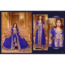 Blue SAARA 3 WEDDING WEAR HEAVY EMBROIDERED LEHENGA