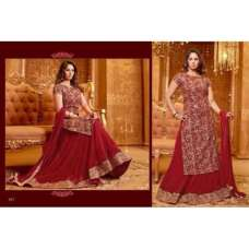 Golden Red SAARA 3 WEDDING WEAR HEAVY EMBROIDERED LEHENGA