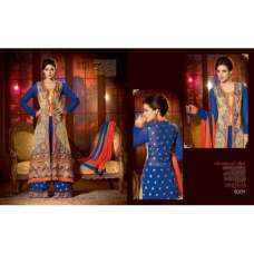 Blue SHENOA WEDDING WEAR HEAVY EMBROIDERED DESIGNER DRESS