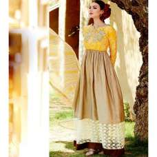 Beige and Yellow Heer By Kimora GEORGETTE Anarkali Suit