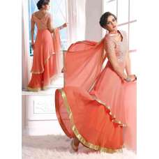 Peach Echo WEDDING WEAR GEORGETTE & NET LONG ANARKALI SUIT