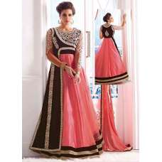 Pink and Brown WEDDING WEAR GEORGETTE & NET LONG ANARKALI SUIT