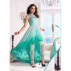Sea Green WEDDING WEAR GEORGETTE & NET LONG ANARKALI SUIT