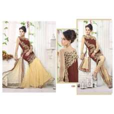 Brown Z PLUS DETAILED EMBROIDERED WEDDING WEAR DRESS