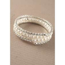 Pearl beads and Silver Crystal Coiled Bangle