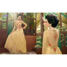 Golden SAYNA ADA WEDDING WEAR HEAVY EMBROIDERED GOWN