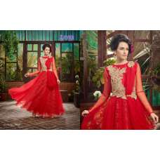 Red SAYNA ADA WEDDING WEAR HEAVY EMBROIDERED GOWN