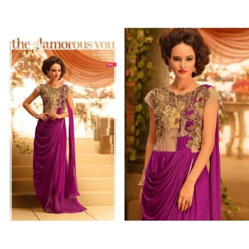 Beige and Purple GOWNS 2 WEDDING WEAR HEAVY EMBROIDERED GOWN ...
