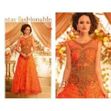 Orange and Gold GOWNS 2 WEDDING WEAR HEAVY EMBROIDERED GOWN
