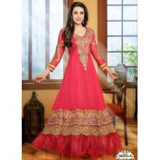Nonpareil Floor Touch Georgette Anarkali Karishma Kapoor Light-Red