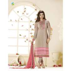 SLK2856 - Pink and Grey Kaseesh Silkina Royal Crepe 3 Salwar Kameez Suit
