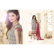 SLK2858 - Rose with White and Black Patterns Kaseesh Silkina Royal Crepe 3 Salwar Kameez Suit