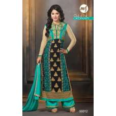 Black And Green Heena Khan Salwar Churidaar Suit