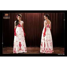 AHR5088 White Stunning New Anushka Sharma Bombay Velvet Gown Anarkali Dress(Long Sleeves Available)