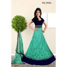 Teal Blue WEDDING WEAR Resham Work Net Designer Anarkali Suit