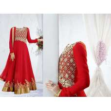 Red Party Anarkali Wedding Wear Dress