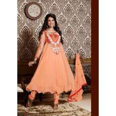 Stunning Orange Anarkali Designer Dress