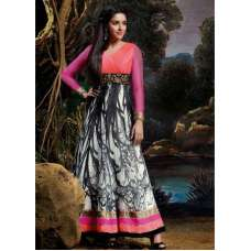 AS3027 Black And Pink Stunning Anarkali Indian Designer Asmira Semi Stitched Suit