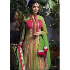 AS3032 Yellow Green With Pink Stunning Anarkali Indian Designer Asmira Semi Stitched Suit