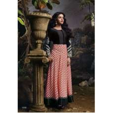 AS3036 Black With Red Stunning Anarkali Indian Designer Asmira Semi Stitched Suit