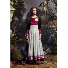 AS3037 Black With Grey Stunning Anarkali Indian Designer Asmira Semi Stitched Suit