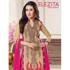 Beige and Fuscia Pink Elezita Semi Stitched Salwar Designer Wear